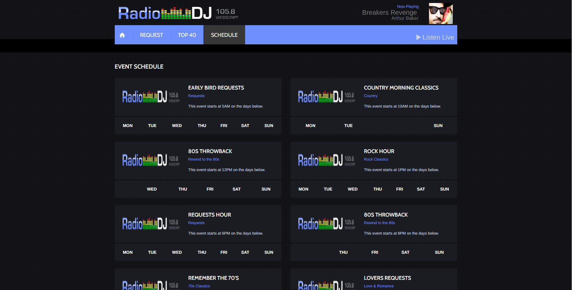 RadioDJ 105.8 Webscript